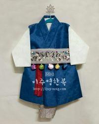 [해외구매전용] 긴배자 - 블루+회색-나비 손수돌띠 / 남아한복/전통민자돌복/아동한복/쾌자형한복/공방 이주영한복