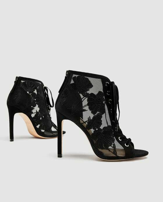 278d3a1c75 eBay Advertisement) ZARA Lace-up Embroidered High Heel Open Toe ...