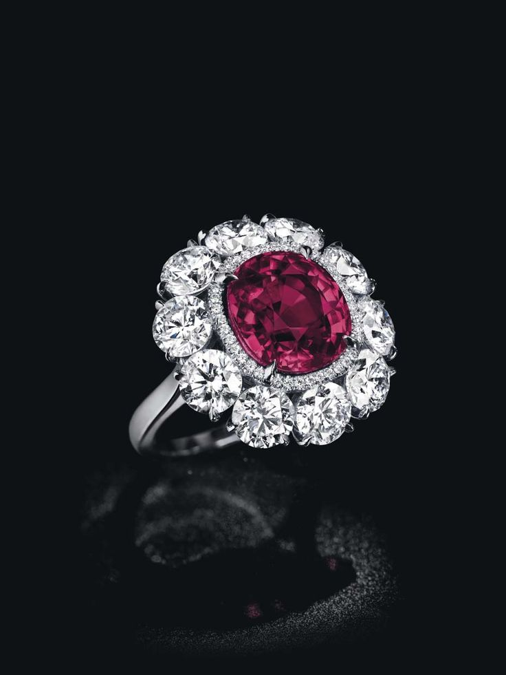 This cushion-shaped Burmese ruby and diamond ring, known as the Pride of Burma, has an estimate of $1.8-2.5 million.