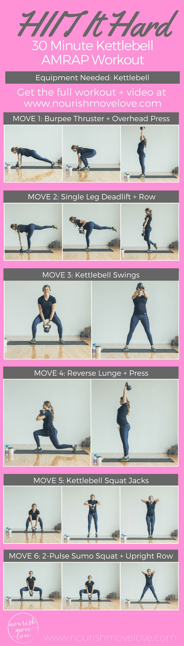 HIIT It Hard: 30-Minute Kettlebell AMRAP Workout | www.nourishmovelove.com