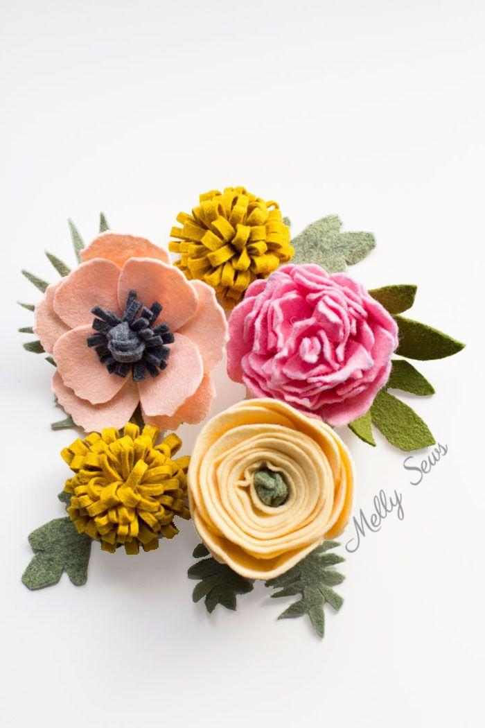 Make a felt flower bouquet with these tutorials for different felt flowers - from felt roses to felt ranunculus to a felt peony & felt dahlias