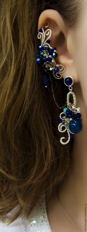 """Купить Синие серьги кафф """"Ночь в саду"""" (украшения с цветами, темно синий цвет - кафф"""