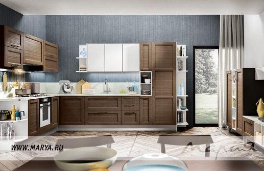 Геометрия форм кухни Vanessa отражает традиции и стиль итальянских мастеров Friul Intagli, а простота и элегантность женского имени соответствуют общей концепции гарнитура.