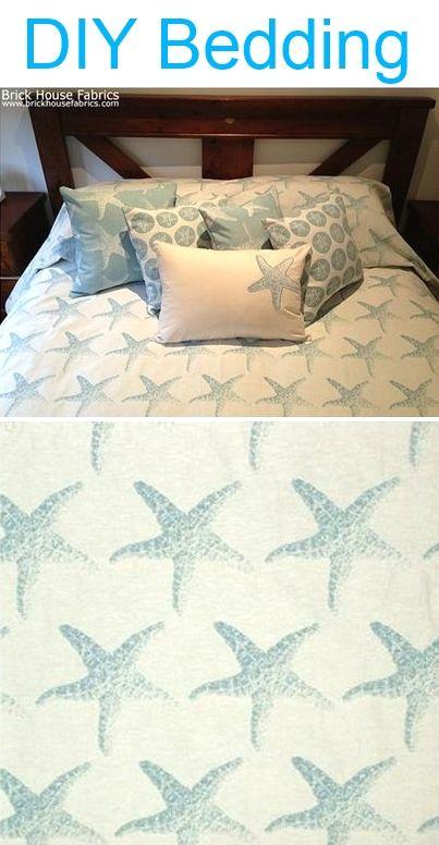Make your own bedding with coastal fabrics. Find both sand dollar and starfish fabric here: http://www.brickhousefabrics.com/beach_island_fabric.html#.Uwuz3vldUnk