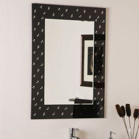 Decor Wonderland Carnagie Hall 23.6-In X 31.5-In Black Rectangular Framed Bathroom Mirror Ssm481-1