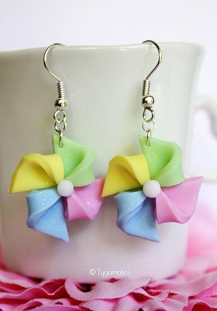 Pastel Pinwheels Polymer Clay Earrings by Zygomatics, via Flickr