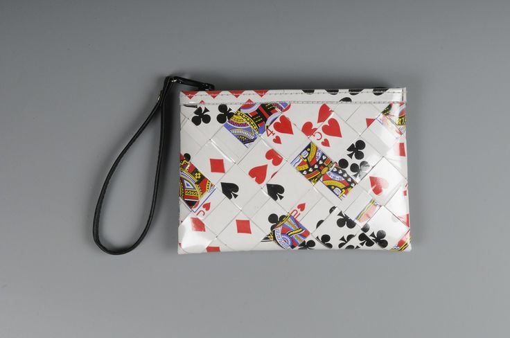 Small zip clutch using playing cards