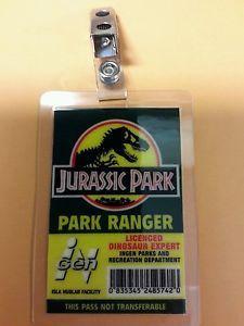Jurassic Park ID Badge-Park Ranger Dinosaur Expert costume prop cosplay