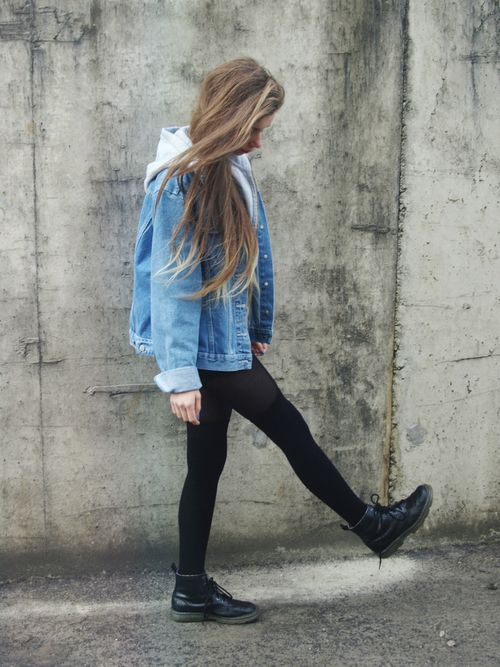 Fall outfit: Denim jacket, sweater, leggings, combat boots.