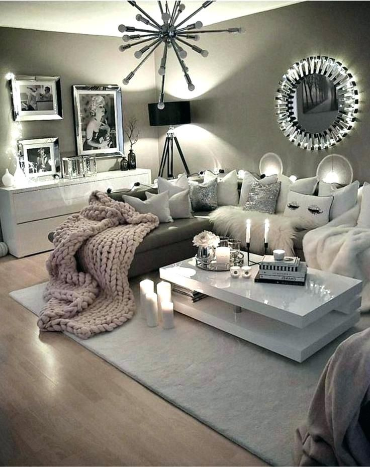 Charcoal, Grey, White, Pink Accents, Modern, Glam, Living ...
