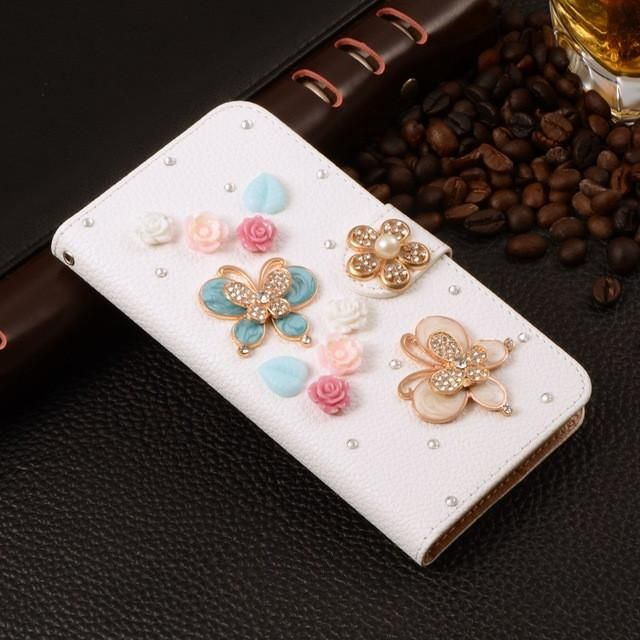Wallet Flip PU Leather Diamond Case For Samsung Galaxy SV S5 I9600 S 5 Case Eiffel Mirror Bowknot Smart Stand Cell Phone Cover