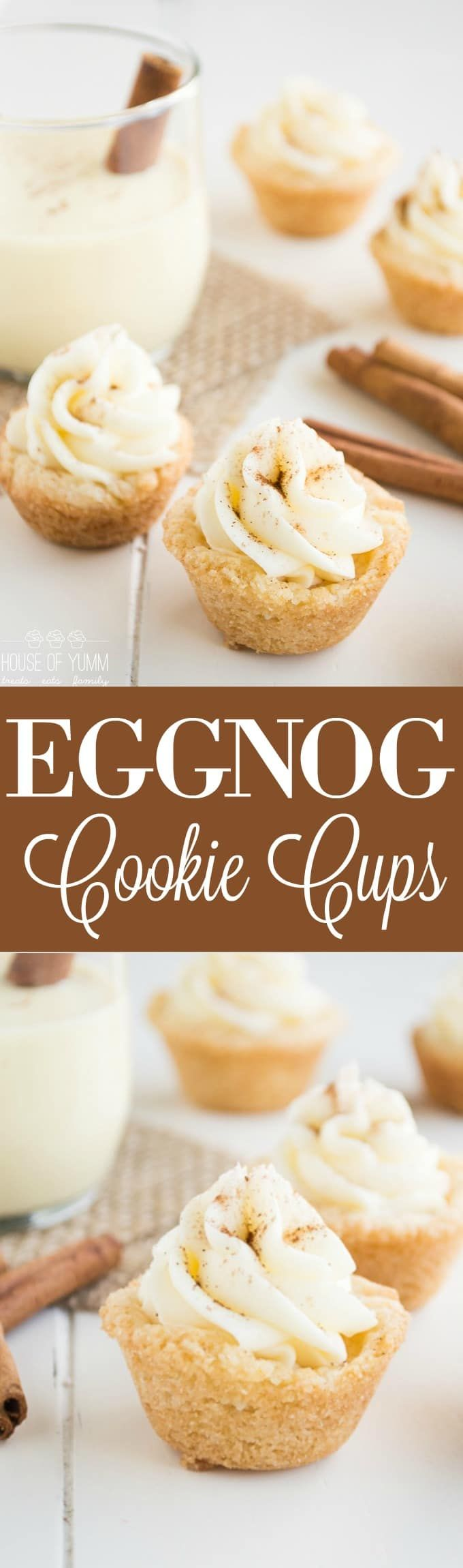 Eggnog Cookie Cups! This sweet, creamy frosting is made with REAL Eggnog! Perfect quick and easy Christmas dessert! Oh my goodness. I cannot believe that it's already almost Christmas! Which means I should probably consider wrapping presents soon. My laundry room is stacked floor to ceiling with Amazon boxes. I have too many kids to be able too sneak out to do shopping. Plus..this way I get the joy of opening Amazon boxes and finding whats inside. Because to be honest, I don't...