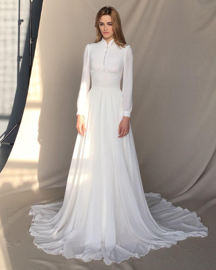 Long sleeve wedding dress Chiffon wedding dress button-up | Etsy