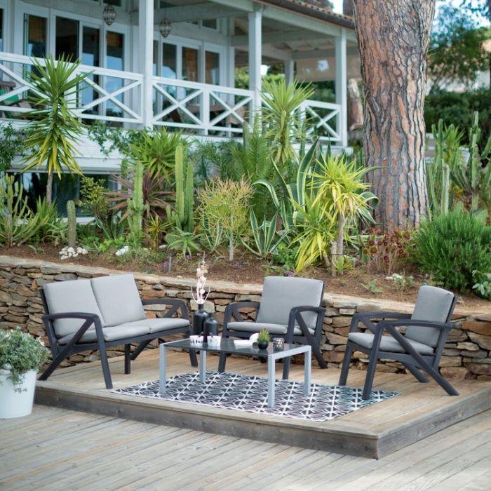 Salon De Jardin Bas 4 Places Lounge Pas Cher Soldes Salon De