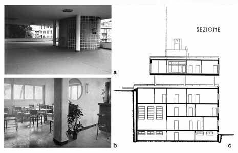 Gênes, siège du Parti Fasciste à Sturla: a) vue en gros plan des porches et de l'entrée principale (photo 1992); b) le bar à l'intérieur (Casabella-Costruzioni, n. 133, janvier 1939, p. 24); c) coupe longitudinale (DANERI Pietro P., Daneri, Gênes, Sagep, 1982, p. 77).