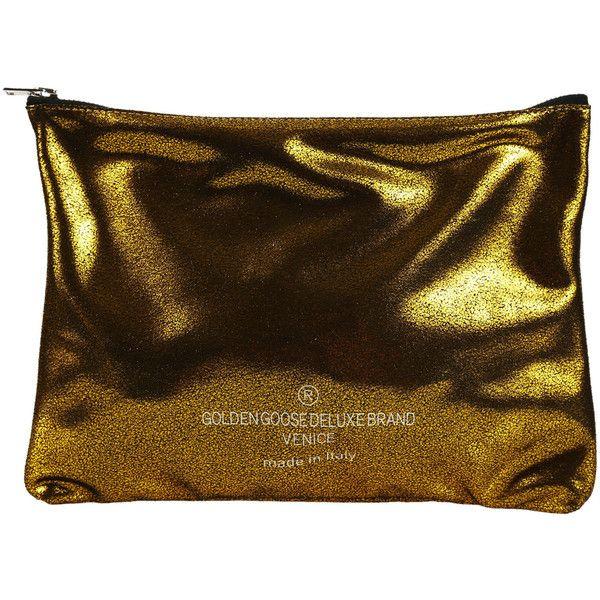 Golden Goose Clutches (£66) ❤ liked on Polyvore featuring bags, handbags, clutches, gold, golden goose handbags, brown handbags, zipper purse, glitter handbags and golden goose