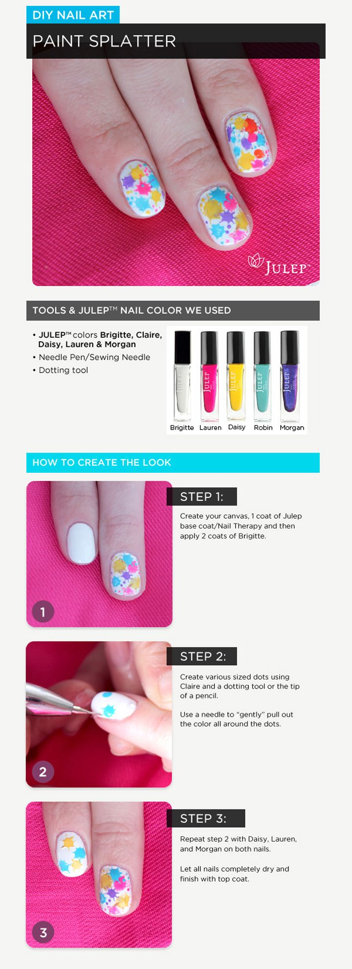 Beauty Bender partnered up with @Julep to make this super easy, #DIY nail art tutorial. Get the look at home with this Paint Splatter How-To