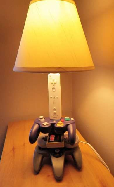 Hilarious option for a game room!!!  The Nintendo Controller Lamp