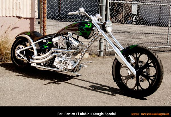 West Coast Choppers - Carl Bartlett El Diablo II Sturgis Special  Custom black green motorcycle