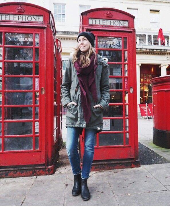 London  red Parka autumn