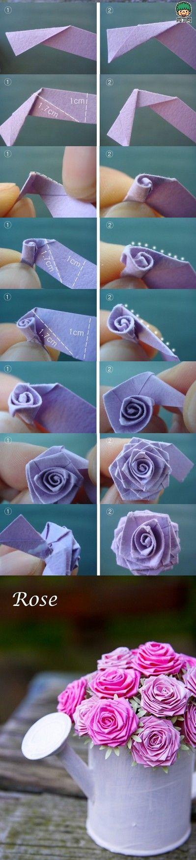 DIY Anleitung für eine Rose aus einem Streifen Papier. Ich kenne diese Technik bereits - sie ist sehr einfach und kann auch mit Bändchen gemacht werden.