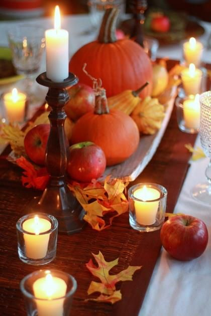 #Fall: runners over white tablecloths, votive and tall candles and pumpkins and gourds! #fall #thanksgiving #table