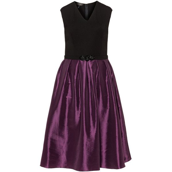 Apart Black / Berry-Purple Plus Size Taffeta dress ($120) ❤ liked on Polyvore featuring dresses, black, plus size, purple plus size cocktail dresses, jersey midi dress, plus size flare dress, plus size midi dresses and fitted flared dress
