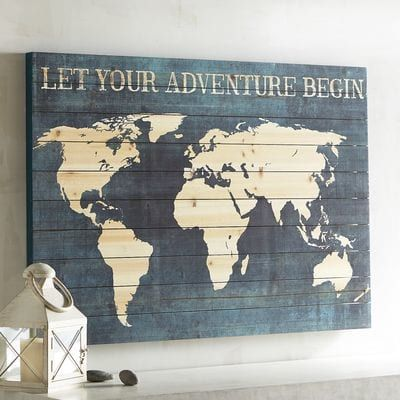 """What grand adventure does the whole wide world have in store for you? Climbing Kilimanjaro? A photo safari on the Serengeti? Ice fishing in Greenland? As our wooden map says """"Let Your Adventure Begin"""" by pondering the possibilities. Gazing at the continents on your wall seems like as good a place to start as any."""