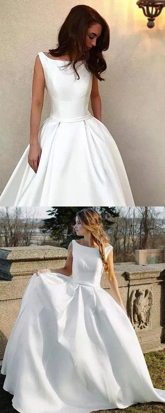 Simple Satin Wedding Dress A Line Bridal Dress For Fall Weddingdressescollection Wedding Dresses Lace A Line Bridal Gowns Wedding Dresses [ 1750 x 700 Pixel ]