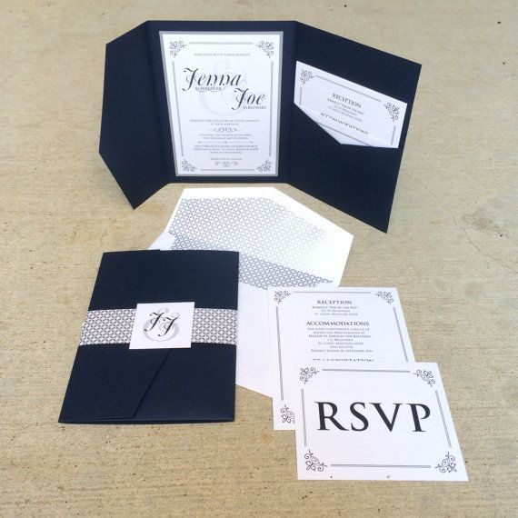 5x7 Navy And Silver Formal Classic Pocket Wedding