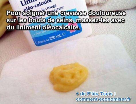 Dès que bébé tète, la douleur est atroce. Du coup, vous songez peut-être à arrêter l'allaitement. Attendez un peu ! Car il existe une astuce simple, naturelle et efficace pour soigner rapidement vos crevasses aux seins. Il suffit de masser vos bout de seins avec du liniment olécalcaire.  Découvrez l'astuce ici : http://www.comment-economiser.fr/remede-naturel-mamelons-irrites-allaitement..html