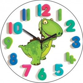 T-Rex Junior Wall Clock 28.5cm - Perfect for childrens bedroom while they are learning to tell the time, only £19.95!