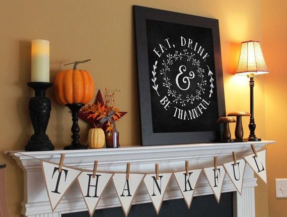 Eat Drink Be Thankful Thanksgiving Chalkboard by BeeCreativePrints