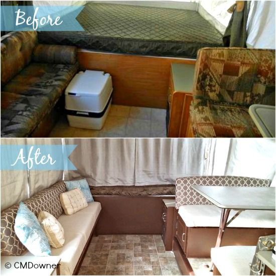 Pop Up Camper Remodel: Cyndie's Pop Up Makeover.  Great ideas on remodeling a pop up camper.:
