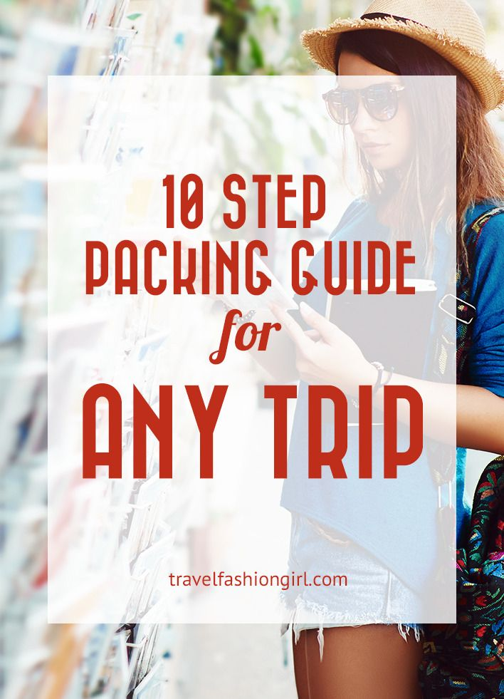 10 Step Guide to Packing in One Suitcase for ANY Trip. Overwhelmed at the idea of packing in just one bag? Intrigued by the idea of the freedom of traveling carry-on only? This 10 step packing guide is for you!