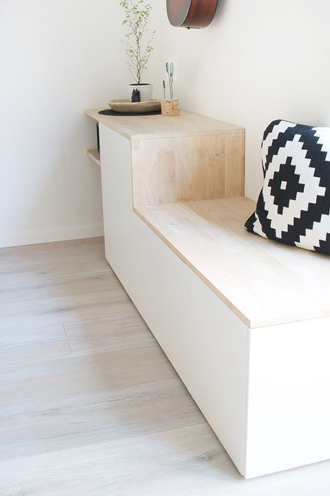 Do it yourself: Besta and wood becomes a sideboard with a bench   – DIY Wohnen