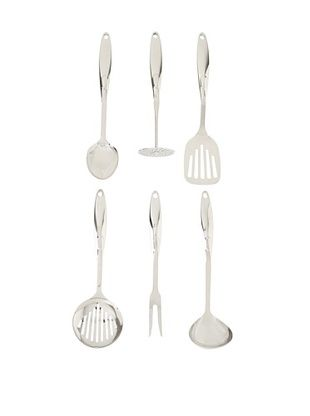 BergHOFF Straight Line 7-Piece Kitchen Utensil Set with Stand, Silver