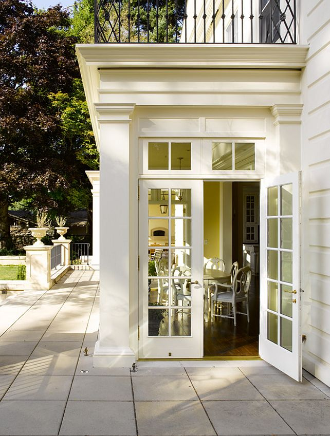 Side Entrance With French Doors Transom Beautiful Trimwork Stunning Veranda Dream Home