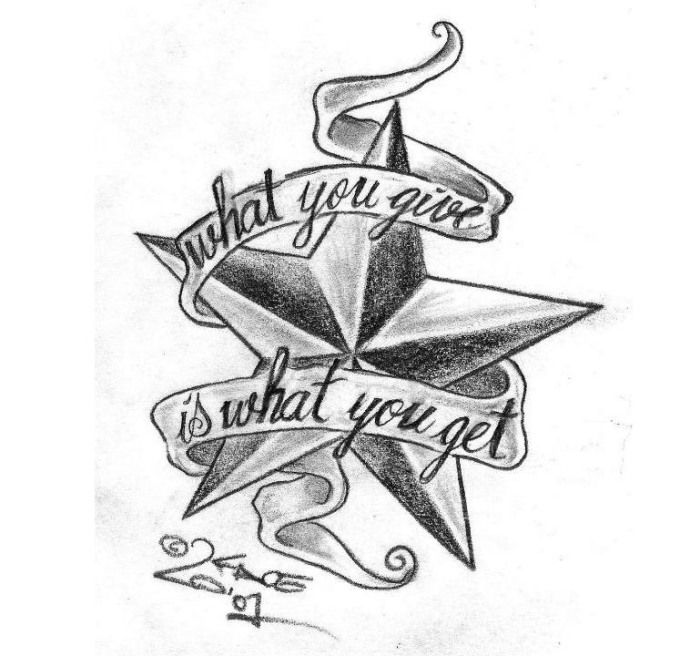 Nautischer Stern-Tattoo Design mit Motivationsspruch
