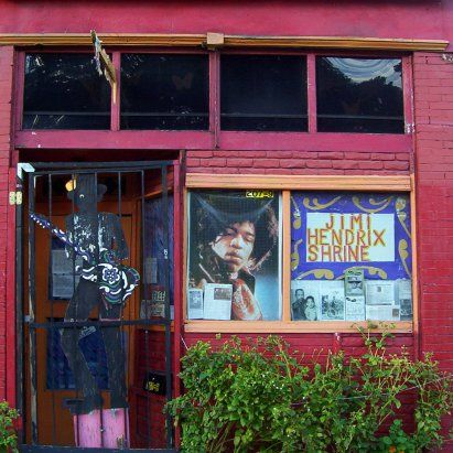 The front of the Jimi Hendrix Shrine in Vancouver which used to be the kitchen of the fried chicken restaurant where Jimi's grandmother was the cook.