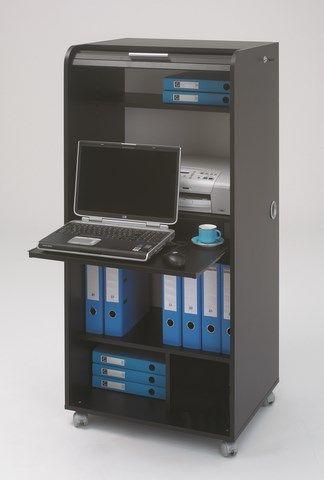 Bureau multimédia sur roulettes Permet la pose d'un ordinateur et d'une imprimante Compartiments permettant le rangement d'objets ou de classeurs