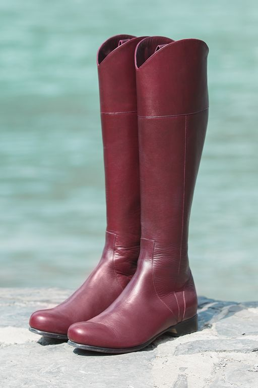 Our women's Poppy Barley Marsala red, tall, all-leather, flat La Hacienda boot. Made-to-Measure in sizes 5-12 and made to fit narrow, standard or wide feet. They make for the perfect fall boot with comfort and style | PB Fall15 Lookbook