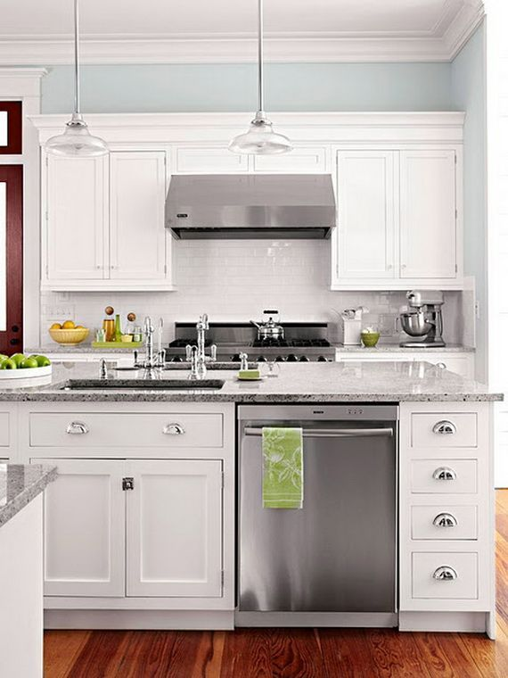 144 best ideas about white cupboards stainless steel on for Gray kitchen cabinets with white appliances