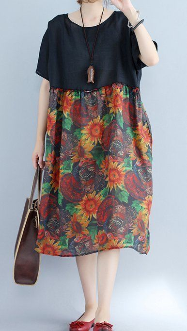 Women loose fit over plus size retro flower dress maxi tunic pregnant maternity #Unbranded #dress #Casual