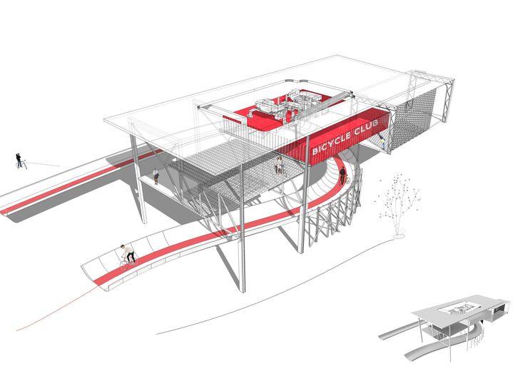Bicycle Club   Axonometric Drawing / Collage by Meric Arslanoglu   2014