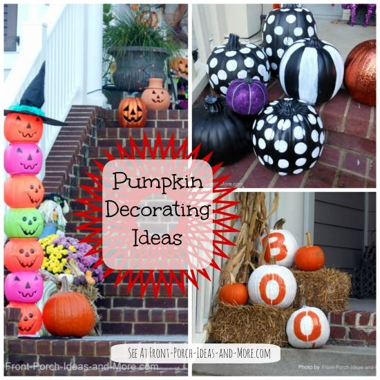 Easy pumpkin decorating ideas with paint for autumn and Halloween! See them at http://www.front-porch-ideas-and-more.com/pumpkin-decorating.html #easycrafts #diy