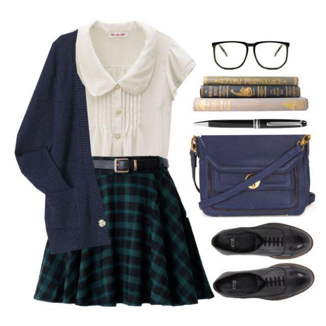 Very Zooey Deschanel. White Peter Pan blouse, black belt, checkerboard skirt, dark cardigan, black flats. (Add sheer tights)