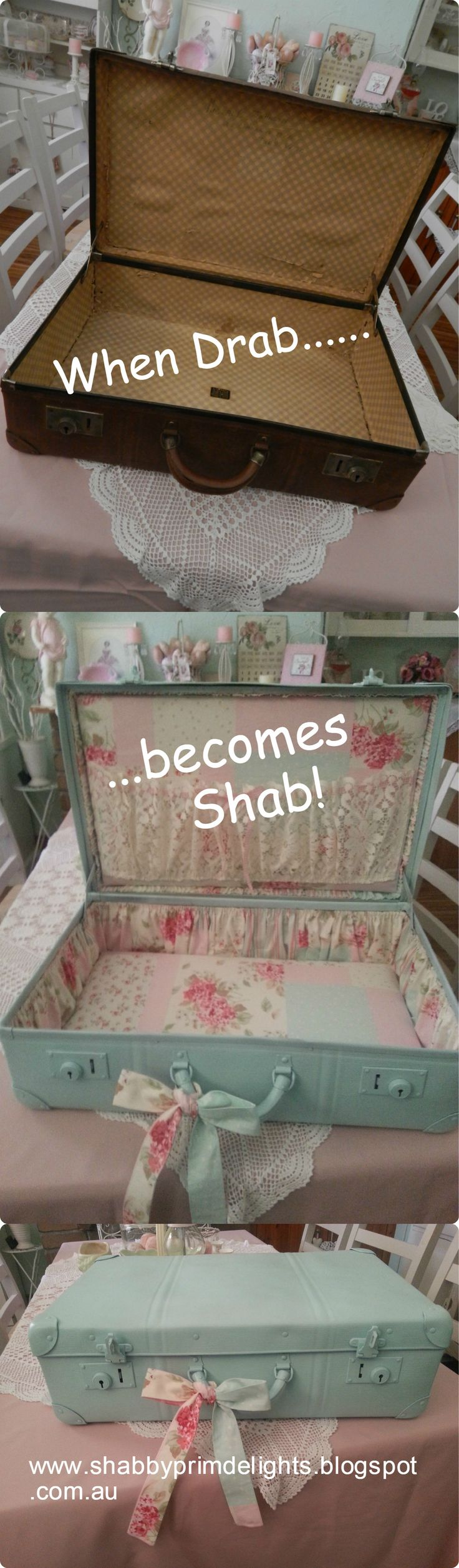 Vintage suitcase makeover by Shabby Delights