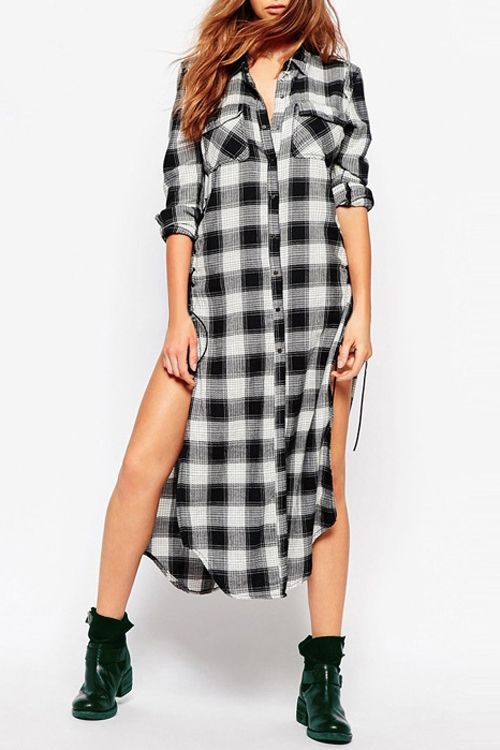 Plaid Shirt Neck Long Sleeve Dress