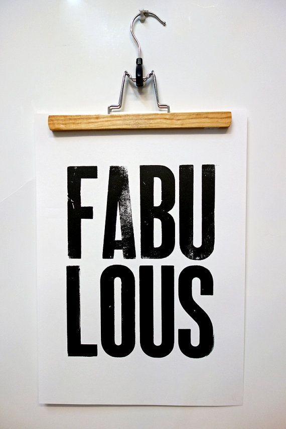 Poster fabulous zwart/wit boekdruk 30x42 cm met door BloomAndTypo